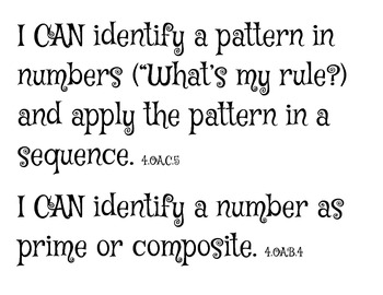 """4th Grade COMMON CORE Everyday Math UNIT 3 """"I CAN"""" Statements & Word Wall"""