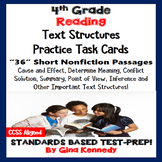 4th Grade Reading Skills Task Cards, 36 Nonfiction Test-Pr