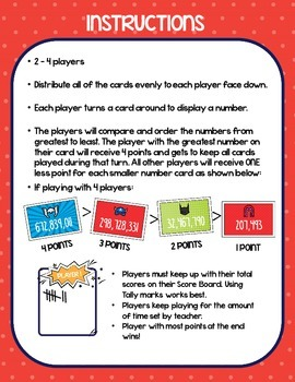 4th Grade COMPARING & ORDERING numbers to the Billions - Math Center Game