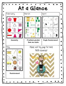 4th Grade Calendar Math Pieces Common Core Aligned