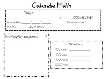 4th Grade Calendar Math Power Images for Posters
