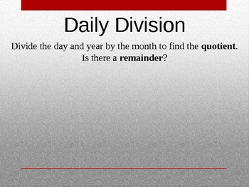 4th Grade Calendar Math Power Point Introduction