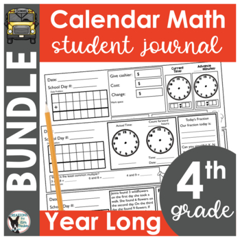 4th Grade Calendar Math Student Journal Bundle- from August to May!