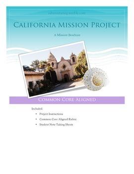 4th Grade California History Mission Project - Common Core Aligned