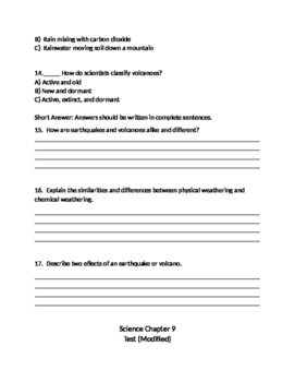 4th Grade Chapter 9 Test Changes to Earth's Surface