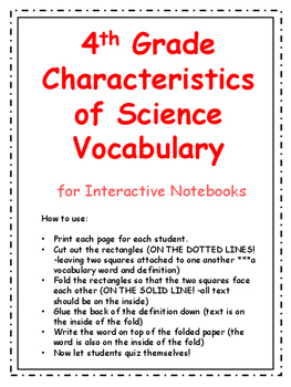 4th Grade Characteristics of Science Vocabulary