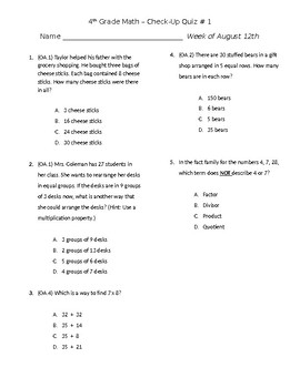 4th Grade Check Up Quiz #1 & #2
