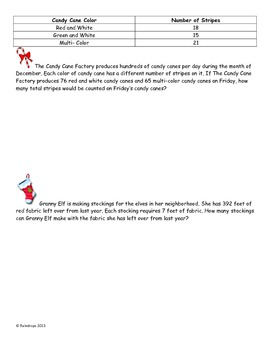 4th Grade Christmas Word Problems