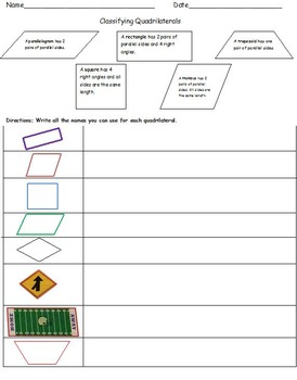 4th grade classifying quadrilaterals common core worksheets tpt. Black Bedroom Furniture Sets. Home Design Ideas