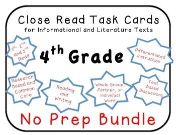 4th Grade Close Read  50 Task Card Bundle