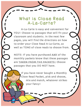 Elementary Close Read A-La-Carte! Choose your own Close Read Passages