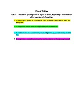 4th Grade Color - Coded Writing Standards