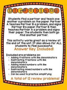 4th Grade Common Core Add, Subtracting Fractions & Mixed Numbers (Find a Buddy)