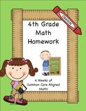 4th Grade Common Core Aligned Daily Math or Homework Pack 4 weeks