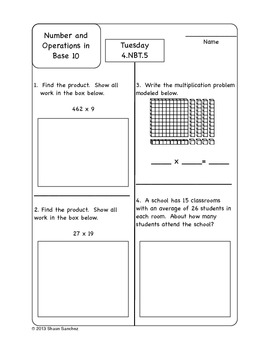 4th Grade Common Core Aligned Homework Pack (4 Weeks)-November
