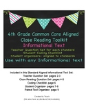 4th Grade Common Core Aligned Close Reading Toolkit for In