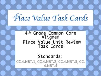 4th Grade Common Core Aligned Place Value Unit Review Task