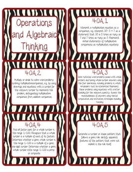 4th Grade Common Core CCSS Labels and Posters Math and ELA-Zebra Print