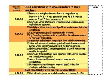 4th Grade Common Core Checklist