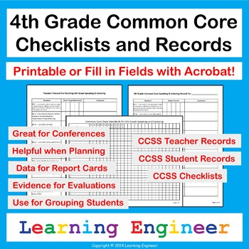 4th Grade Checklists for Common Core ELA and Math Learning Targets