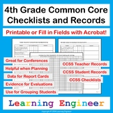 4th Grade Checklists: Common Core ELA & Math with Digital Fillable PDFs & Zoom