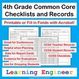 4th Grade Checklists: Common Core