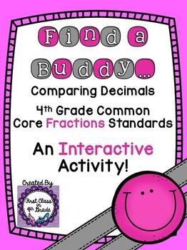 4th Grade Common Core Comparing Decimals (Find a Buddy)