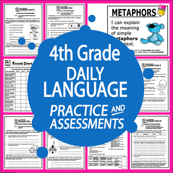 """4th Grade LANGUAGE Daily Practice (""""I Can"""" ELA Posters + 4th Grade Morning Work)"""