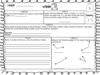 Math Morning Work 4th Grade April Editable