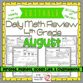 Math Morning Work 4th Grade August Editable