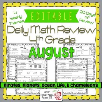 Math Morning Work 4th Grade August Editable