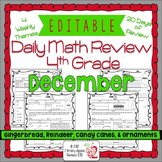 Math Morning Work 4th Grade December Editable, Spiral Revi
