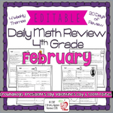 Math Morning Work 4th Grade February Editable, Spiral Revi