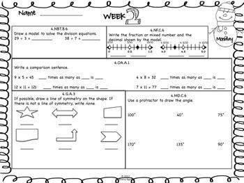 Math Morning Work 4th Grade January Editable