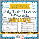 Math Morning Work 4th Grade January Editable, Spiral Revie