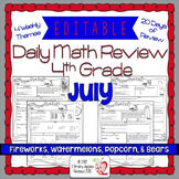 Math Morning Work 4th Grade July Editable
