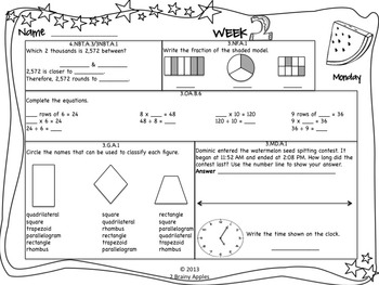 Math Morning Work 4th Grade July Editable