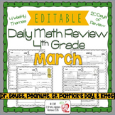 Math Morning Work 4th Grade March Editable, Spiral Review,