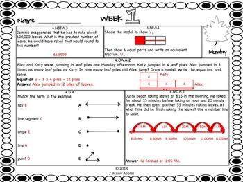 Math Morning Work 4th Grade November Editable