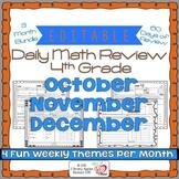 Math Morning Work 4th Grade Bundle Editable, Spiral Review