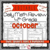 Math Morning work 4th Grade October Editable, Spiral Revie