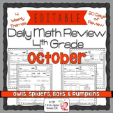 Math Morning work 4th Grade October Editable