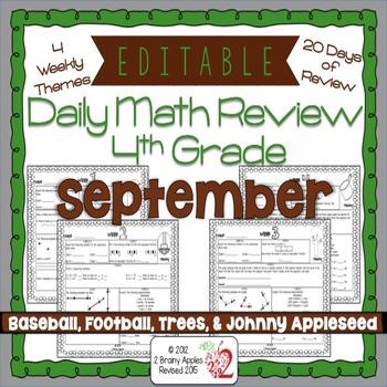 Math Morning Work 4th Grade September Editable