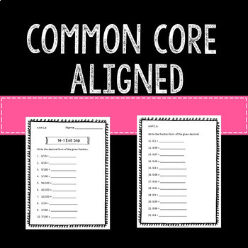 Decimals Math Exit Slips Assessments 4th Grade Common Core