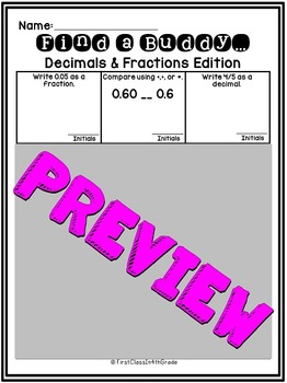 4th Grade Common Core Decimals and Fractions (Find a Buddy)