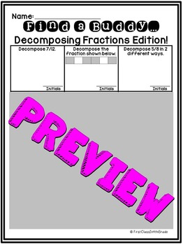 4th Grade Common Core Decompose Fractions (Find a Buddy)