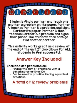 4th Grade Common Core Denominators of 10 & 100 (Find a Buddy)