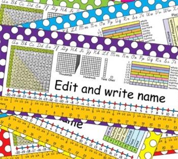 4th Grade Common Core Desk Plates Dots Editable