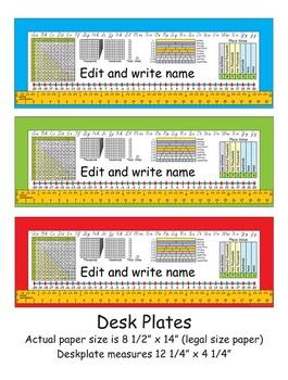 4th Grade Common Core Desk Plates Editable & 6 Colors