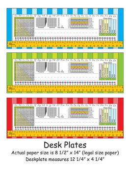 4th Grade Common Core Desk Plates Stripes